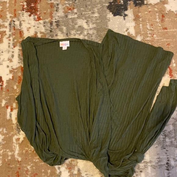 Hunter green sleeveless duster